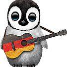 Baby-Pinguin, der deutsche Flaggen-Gitarre spielt von jeff bartels