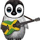 Baby-Pinguin, der jamaikanische Flaggen-Gitarre spielt von jeff bartels