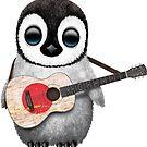 Baby-Pinguin, der japanische Flaggen-Gitarre spielt von jeff bartels