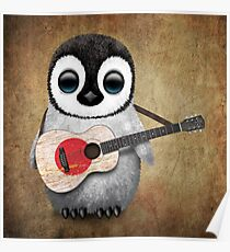 Baby Penguin Playing Japanese Flag Guitar Poster