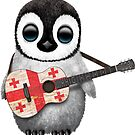 Baby Penguin Playing Georgian Flag Guitar von jeff bartels