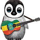 Baby-Pinguin, der äthiopische Flaggen-Gitarre spielt von jeff bartels