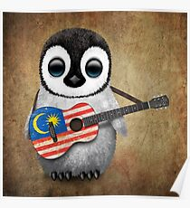 Baby Penguin Playing Malaysian Flag Guitar Poster