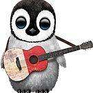 Baby Penguin Playing Maltese Flag Guitar von jeff bartels