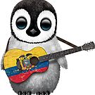 Baby Penguin Playing Ecuadorian Flag Guitar von jeff bartels