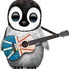 Baby Penguin Playing Newfoundland Flag Guitar von jeff bartels