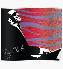retro RAY CHARLES digital illustration  Poster