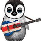 Baby Penguin Playing Costa Rican Flag Guitar von jeff bartels
