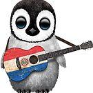 Baby-Pinguin, der Paraguay-Flaggen-Gitarre spielt von jeff bartels