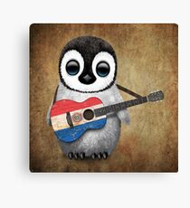 Baby Penguin Playing Paraguay Flag Guitar Canvas Print
