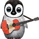 Baby Penguin Playing Peruvian Flag Guitar von jeff bartels