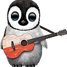 Baby Penguin Playing Polish Flag Guitar von jeff bartels