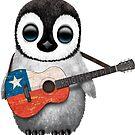 Baby-Pinguin, der chilenische Flaggen-Gitarre spielt von jeff bartels