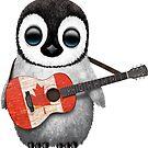 Baby-Pinguin, der kanadische Flaggen-Gitarre spielt von jeff bartels