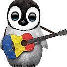 Baby-Pinguin, der rumänische Flaggen-Gitarre spielt von jeff bartels