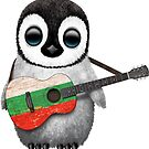 Baby-Pinguin, der bulgarische Flaggen-Gitarre spielt von jeff bartels