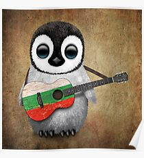 Baby Penguin Playing Bulgarian Flag Guitar Poster