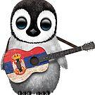 Baby-Pinguin, der serbische Flaggen-Gitarre spielt von jeff bartels