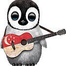 Baby Penguin Playing Singapore Flag Guitar von jeff bartels