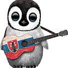 Baby Penguin Playing Slovakian Flag Guitar von jeff bartels