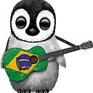 Baby Penguin Playing Brazilian Flag Guitar von jeff bartels