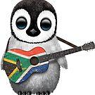 Baby-Pinguin, der südafrikanische Flaggen-Gitarre spielt von jeff bartels