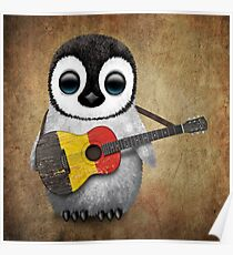Baby Penguin Playing Belgian Flag Guitar Poster
