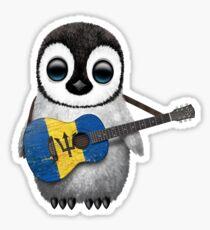 Baby Penguin Playing Barbados Flag Guitar Sticker