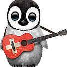 Baby Penguin Playing Swiss Flag Guitar von jeff bartels