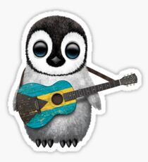 Baby Penguin Playing Bahamas Flag Guitar Sticker