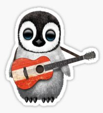 Baby Penguin Playing Austrian Flag Guitar Sticker