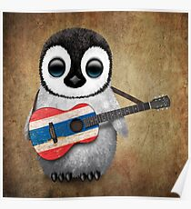 Baby Penguin Playing Thai Flag Guitar Poster