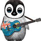 Baby-Pinguin, der Turks- und Caicosflaggitarre spielt von jeff bartels