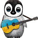 Baby Penguin Playing Ukrainian Flag Guitar von jeff bartels
