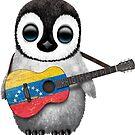 Baby-Pinguin, der venezolanische Flaggen-Gitarre spielt von jeff bartels