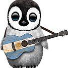 Baby Penguin Playing Argentinian Flag Guitar von jeff bartels