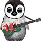 Baby-Pinguin, der Waliser-Flaggen-Gitarre spielt von jeff bartels