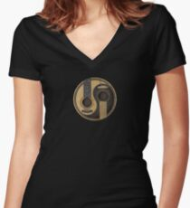 Old and Worn Acoustic Guitars Yin Yang Women's Fitted V-Neck T-Shirt