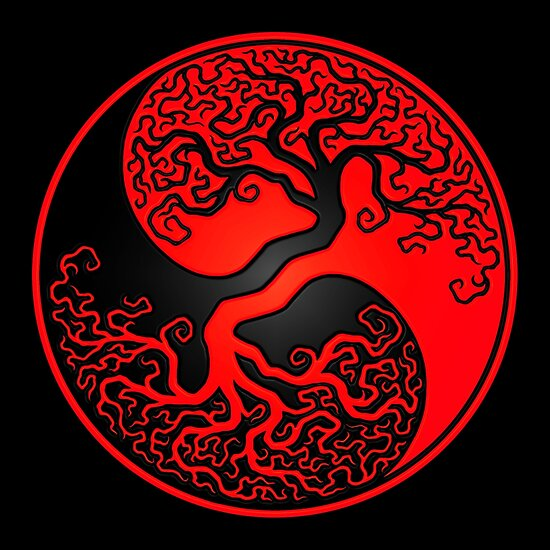 "Tree Of Life Ideal Size Of A 48: ""Red And Black Tree Of Life Yin Yang"" Posters By Jeff"