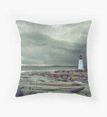 Stormy Sky over Nova Scotia Lighthouse - Peggys Cove Throw Pillow