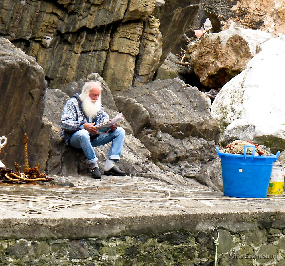 fisherman reading paper by Anne Scantlebury