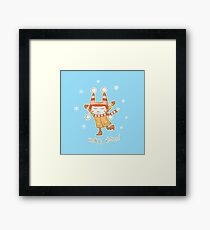 Winter card with rabbit. Framed Print