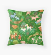 Farmyard with domestic animals, trees and footpaths Throw Pillow