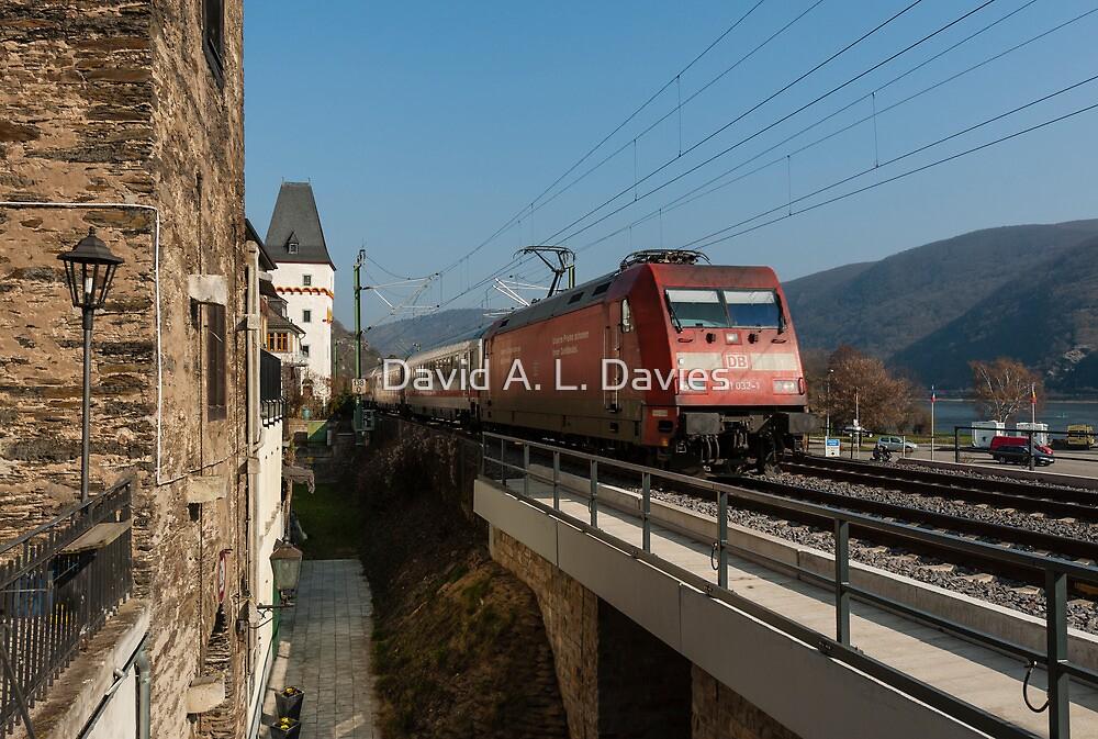 InterCity train passing Bacharach, Germany by David A. L. Davies