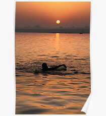 Swimming in the Ganges at Sunrise Poster