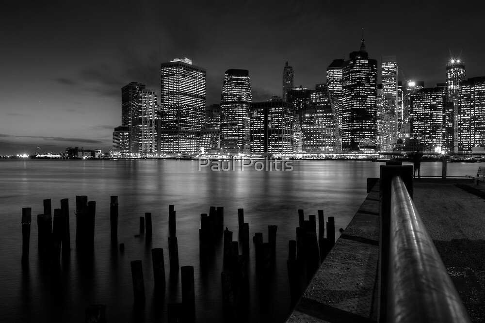 Manhattan Skyline from Brooklyn, Night by Paul Politis