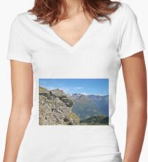 Austria, Alps mountain landscape  Women's Fitted V-Neck T-Shirt