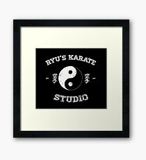 Ryu's Karate Studio - Black Version Framed Print