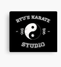 Ryu's Karate Studio - Black Version Canvas Print