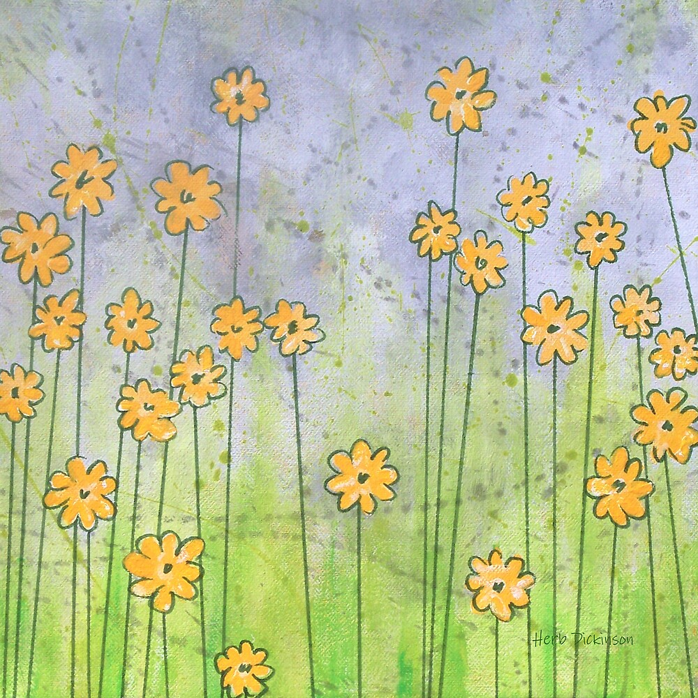 Whimsy Yellow Flowers by Herb Dickinson